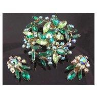 Airy Green & Aurora Borealis Rhinestone Flower & Leaves Brooch & Earrings
