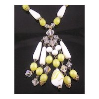Lemon Art Glass Dangle Necklace