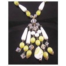 Lemon Art Glass Dangle Necklace