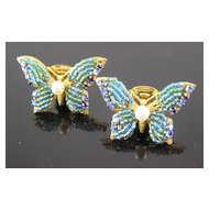 Miriam Haskell Blue Green Butterfly Clip Earrings
