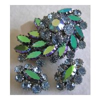 Coro Teal Purple Aurora Borealis & Pastel Rhinestone Brooch & Earrings