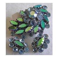 Coro Teal Purple Aurora Borealis & Pastel Rhinestone Brooch & Earrings