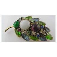 Fruit Salad Molded Glass Fuchsia, Green Rhinestone Brooch