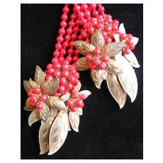 Spectacular Miriam Haskell Red Lariat Dress Clip Necklace