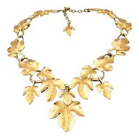 Trifari Kunio Matsumoto 1970's Gold Tone Leaf Necklace