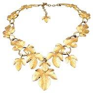 Trifari Kunio Matsumoto 1970's Gold Tone Leaf Necklace