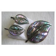 Mexican 925 Sterling Silver Pre-Eagle Abalone Leaf Brooch and Earrings