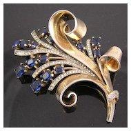 Crown Trifari Sterling Silver Faux Sapphire Bouquet Fur Clip Brooch