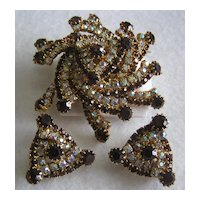 Pinwheel Fireworks! Tiered Aurora Borealis & Rootbeer Rhinestone Brooch & Earrings