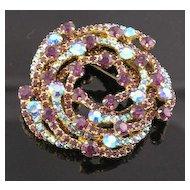 Luscious Teal & Purple Aurora Borealis & Rhinestone Brooch