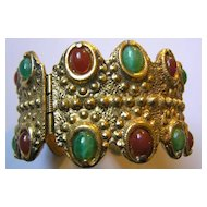 Chunky Byzantine Style Honey & Mottled Green Cabochon Hinged Cuff Bracelet
