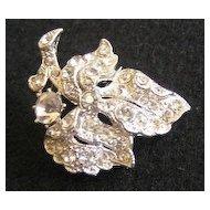 Petite Rhinestone Leaf on Branch Rhodium-Plated Brooch