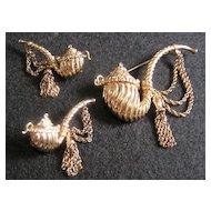 Nettie Rosenstein Sterling Silver Pipe Brooch & Earrings