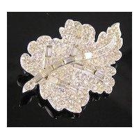 Gorgeous Baguette Rhinestone Leaf Brooch