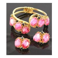 D&E Pink Givre & Black RS Clamper Bracelet & Earrings