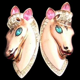 Sterling Vermeil 1943 Adolph Katz Patent Coro Craft Pink, Aqua, and Clear Rhinestone & Enamel Horse Duette