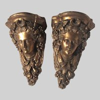 Pair Gold Gilt Wall Shelves Lady Faces
