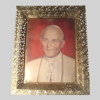 Emdur Illuminated Picture Frame Metal Filigree Pope John Paul II Print