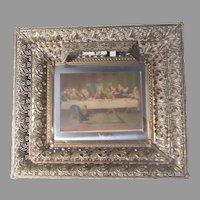 Illuminated Picture Frame Metal Filigree Last Supper Print