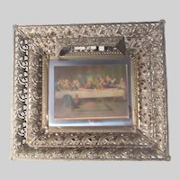 Illuminated Picture Frame Metal Filigree Last Supper Print