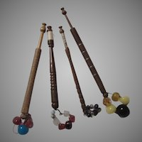 Set of 4 Old Wood Fancy Bobbins Sewing Lace Making Weaving