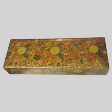 Kashmir India Hand Painted flowers Birds Paper Mache Box