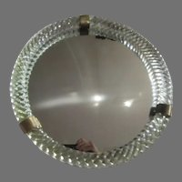Early 1900's Round Mirror Huge Twist Glass Raised Border Wall Table Easel