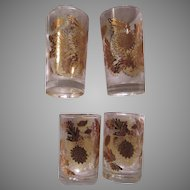 Set 4 Shiny Gold Decorated Glasses Bar Dining