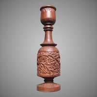 Carved Wood India Candleholder Candle Stand