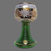 Bavarian German Roemer Wine Goblets Set 11 Berchtesgaden Green Etched