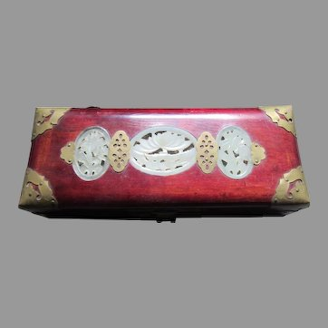 Chinese Vintage Wood Jewelry Box Brass and Jade Decorations