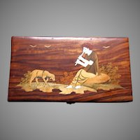 Wood Box Inlay Flute Player Musician Dog India