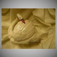 Czechoslovakia White Porcelain Swan Figurine Dish