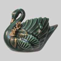 Green Swan Figurine Planter
