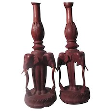 Pair Carved Wood Elephants Table Lamps