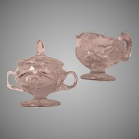 Cut Glass or Crystal Star Design Sugar Bowl Creamer Pitcher Set