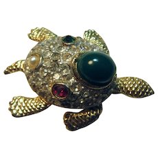 Turtle Pin With Rhinestones Green Stone Faux Jewels