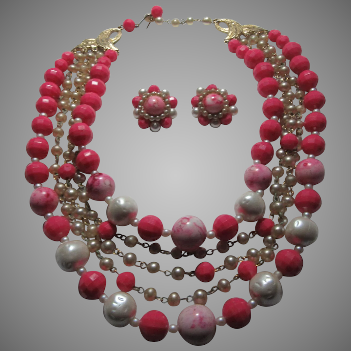 d02bfa1c33497a Pink White Faux Pearls 5 Strand Choker Beads Necklace Earring Set :  Antiques Jewelry & Sacred Treasures | Ruby Lane
