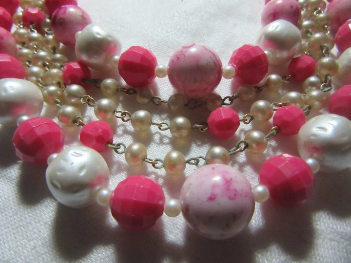 c923e370771e95 Pink White Faux Pearls 5 Strand Choker Beads Necklace Earring Set ...