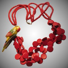 Red Wood Beads Necklace With Parrot Figure Decoration