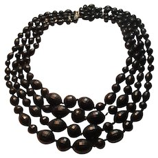 Western Germany Black 4 Strand Beads Necklace