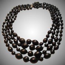 Western Germany Black 4 Strand Beads Necklace