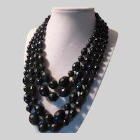 Western Germany 4 Strand Beads Black Necklace