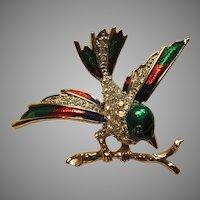 Fine Enamel Bird PIn With Rhinestones