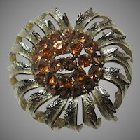 Old Coro Gold Tone Flower Brooch PIn Yellow Stones