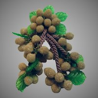 Great Old Brooch Green Plastic Leaves With Faux Grapes and Cords