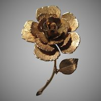 Gold Tone Flower Brooch Pin Giovanni