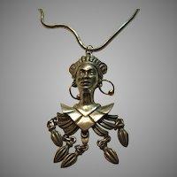 Signed Art Calypso Lady Pendant On Snake Necklace