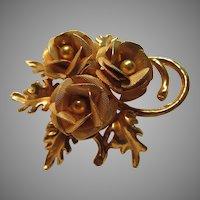 Gold Tone Metal Flowers Pin