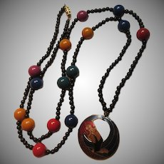 Black And Many Colors Beads Necklace Enamel  Parrot Bird Pendant
